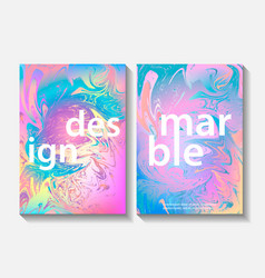 set of creative design posters with marbling vector image