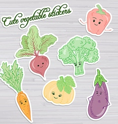 Set of cute vegetable stickers beet carrot vector