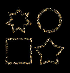 set of gold glitter frames star dust in vector image