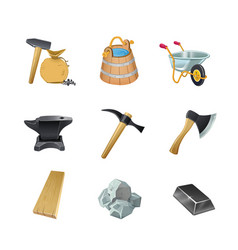 Set of the game construction assets ax bucket vector