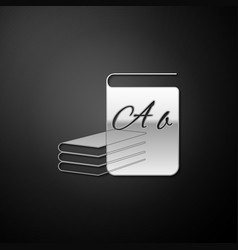 Silver abc book icon isolated on black background vector