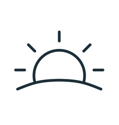 simple sunset or sunrise icon in line art style vector image