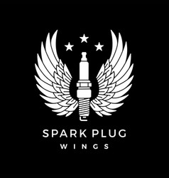 spark plug with wings logo icon vector image