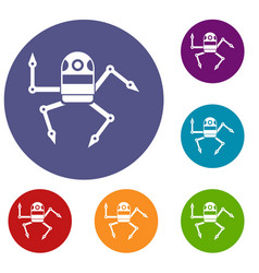 Spider robot icons set vector