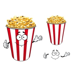 Striped red paper bucket of popcorn cartoon vector image