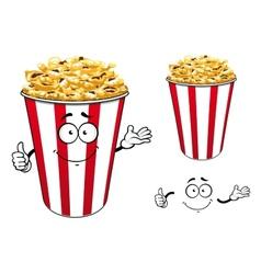 Striped red paper bucket of popcorn cartoon vector