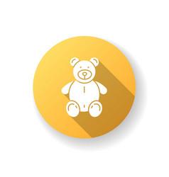 stuffed bear yellow flat design long shadow glyph vector image