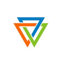 trinity infinity triangle logo template design vector image
