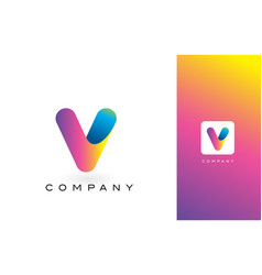 V logo letter with rainbow vibrant beautiful vector