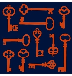 Vintage key silhouettes composition vector image