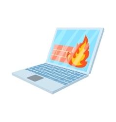 Virus on laptop icon cartoon style vector image