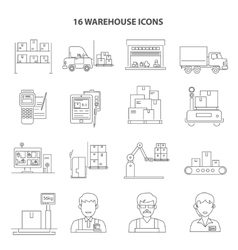 Warehouse Icons Outline vector