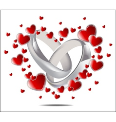 Wedding rings and hearts vector