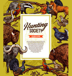 Wild animals and birds hunting season vector