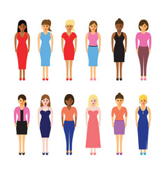 women in a line vector image