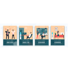 Work stress hr rest at work office poster set vector