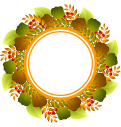 autumnal round frame vector image vector image