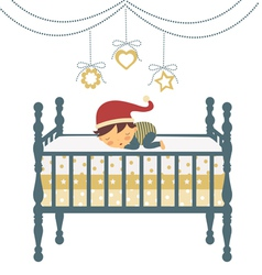 Baby sleeping in santa hat vector image vector image