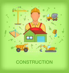 building process concept worker cartoon style vector image vector image