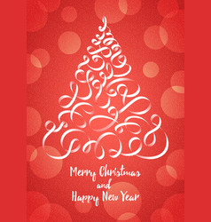 christmas tree in the form of ribbons vector image vector image