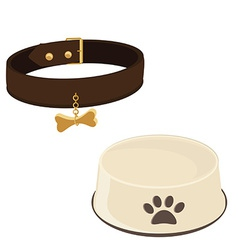 Dog bowl and collar vector image