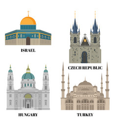 israel hungary turkey and czech republic travel vector image vector image