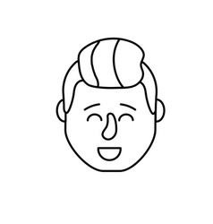 Line avatar man head with hairstyle design vector