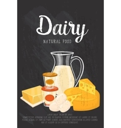 Natural food banner with dairy composition vector image vector image