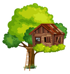 old treehouse made of wood vector image vector image