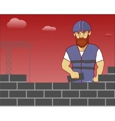 strong builder in overalls and helmet vector image