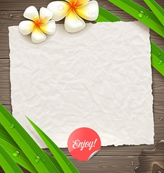 Blank vintage paper with tropical flowers vector image vector image