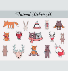 colorful christmas and winter animal sticker set vector image