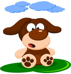Cute little brown dog cartoon vector image