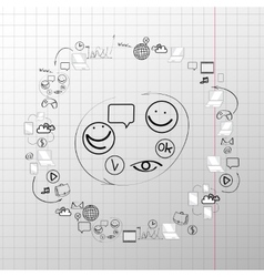 Doodle design set concept for cooperation vector image vector image