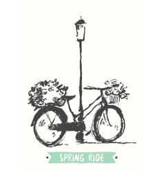 Drawn vintage bicycle sketch vector image vector image