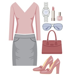 Fashion set with a skirt and a sweater vector image vector image