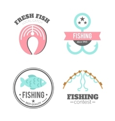 fishing badges Logo elements Paddles vector image