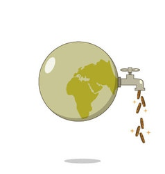 Isolated cartoon dirty planet for cash flow vector image vector image