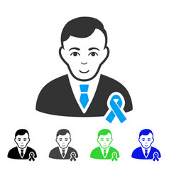 Joy gentleman with mourning ribbon icon vector