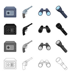 safe with an electronic lock a detective gun vector image vector image