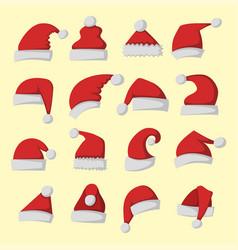 santa claus fashion red hat modern elegance cap vector image vector image