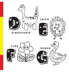 spanish alphabet dinosaur hedgehog flower vector image vector image