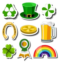 St Patricks day sticker set vector image vector image