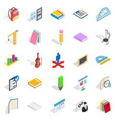 Studies icons set isometric style vector