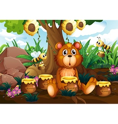 A cute bear under the tree with bees and pots of vector image