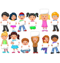Cartoon children with blank sign vector image vector image