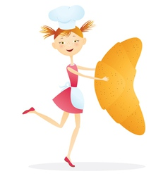 Girl cook with croissants vector image