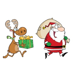 Happy Santa Claus And Reindeer Runs With Gifts vector image vector image