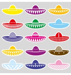Mexico sombrero hat variations stickers set eps10 vector image vector image