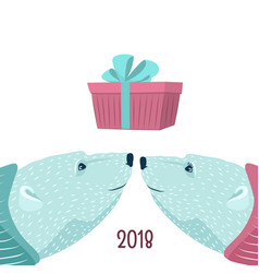 polar bears couple blue purple new year present vector image vector image